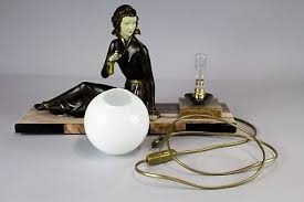art deco lamp. 10 Of 11 1920/1930 Art Deco Lamp With Lady Sculpture Signed Limousin