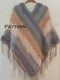 Bernat Crochet Patterns Interesting Crochet PATTERN Easy Weekend Poncho With Fringe Bernat Pop Etsy
