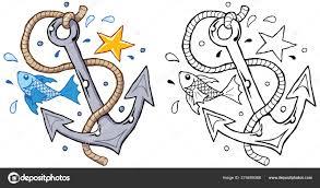 якорь с рыбой веревки звезды моряка векторное изображение