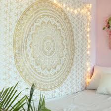 white and gold mandala tapestry wall