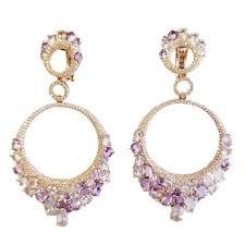 14k yellow gold diamond and gemstone chandelier earrings