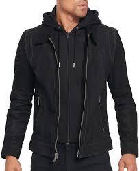 men s suede black leather hooded jacket