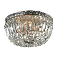 flush mount mini chandelier with crystal beaded shade