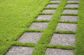 stepping stone path across lawn mien ruys garden holland september part of