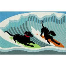surfing dogs indoor outdoor rug