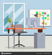 modern interior office stock. Office Interior Vector. Modern Workplace. Room. Flat Illustration \u2014 Stock Vector S