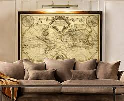 map of decor 1720 old world map map art historic map antique style world