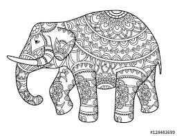 hand drawn decorative outline elephant with indian patterns coloring book page horizontal drawing