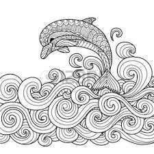 Ocean Waves Hand Drawn Zentangle Dolphin With Scrolling Sea Wave