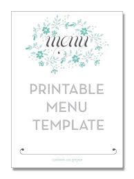 Blank Menu Template Free Download 2018 Printables And Menu