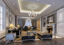 Living Room With A Fireplace Living Room European Style Villa Living Room Fireplace Pillars