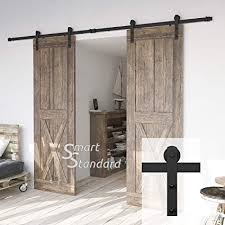 amazon 10ft heavy duty double door sliding barn door hardware kit super smoothly and quietly simple and easy to install includes step by step