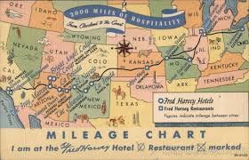 3000 Miles Of Hospitality Mileage Chart For Fred Harvey Hotels Restaurants