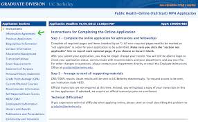application process uc berkeley online masters in public health of many sections of the application the instructions carefully and use the left column to navigate to subsequent sections saving as you go along
