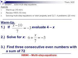 3 swbat solve multi step equations