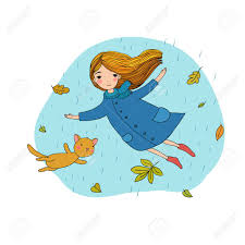 beautiful little and a cute cartoon cat flying with autumn leaves hand drawing isolated