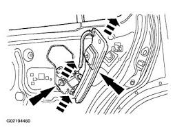 2002 ford explorer left rear power window regulator rear door window regulator and motor removal and installation remove the rear door trim panel for additional information refer to interior trim and