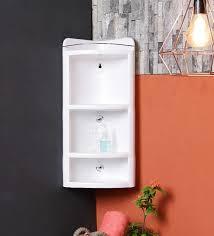 plastic three tier corner shelf in white l 9 5 w 9 h 24 inches bathroom shelves bath fixtures bath laundry pepperfry