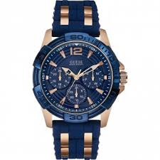 buy men s guess watches authorised uk shop francis gaye men s oasis blue rose gold multi function watch