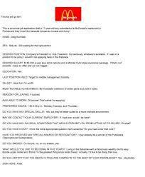 cover letter Mcdonalds Job Application Redstarresume  Mcdonaldsjobapplicationfunny resume examples