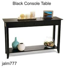 american heritage console table black drawer shelf sofa black finish console sofa table with drawer