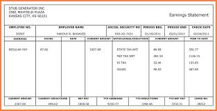 Free Printable Pay Stub Template 001 Quickbooks Securitas