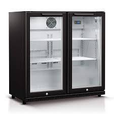 husky double gl door bar fridge in black