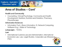canberra australia s education capital area of stus cont health and munity counselling