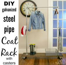 diy coat rack with galvanized steel pipe and casters diyshowoff