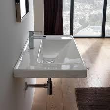 bathroom sink scarabeo 3005 rectangular white ceramic drop in or wall mounted bathroom sink