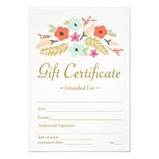 Customized Gift Certificates Flower Bouquet Gift Certificate Zazzle Com Gift