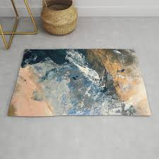 wander 3 a vibrant colorful abstract in blues pink white and gold rug