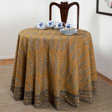 long andhra paisley round tablecloth mustard