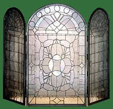 beveled glass fireplace screen inch w x inch h beveled glass clear folding fireplace handsome fireplace screen