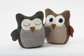 Image is loading Cute-Grey-Brown-Fabric-Tweed-Tartan-Owl-Door-
