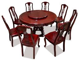 54 rosewood round dining table set with 8 chairs and lazy susan asian dining sets by china furniture and arts