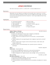 Hospitality Resume Templates Resume Template For Hospitality