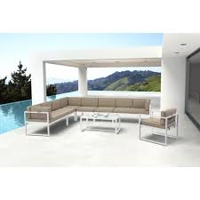 outdoor sectional metal. ZUO Golden Beach Sunproof Fabric Metal Right Arm Outdoor Sectional Chair With Taupe Cushion M