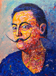 dali painting salvador dali contemporary impasto palette knife oil painting portrait by ana maria edulescu