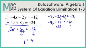 kuta algebra 1 system of equations elimination part 1