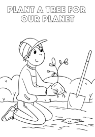 Plant A Tree For Our Planet Coloring Page Free Printable Coloring
