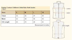 Delias Clothing Size Chart Equine Couture Childrens Delia Rain Shell Jacket 110677