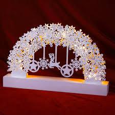 Schwibbogen Holz Schneeflocke Weiß Lichterbogen Weihnachten Advent Fensterdeko 6 Led Beleuchtung Batteriebetrieben
