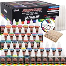 Us Art Supply 6 Color Starter Acrylic Airbrush Leather Shoe Paint Set Primary Opaque Colors Plus Reducer Cleaner 1 Oz Bottles