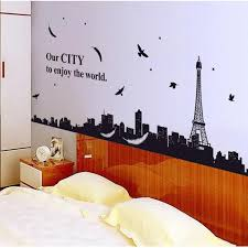 huge paris scenery eiffel tower wall decals mural stickers decor removable diy art wall stickers home