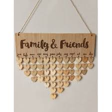 family and friends diy wooden birthday calendar board