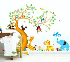 baby room wall sticker animals tree monkey removable wall decal stickers kids baby nursery room decor