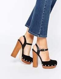 chunky suede heeled sandals miss kg giddy black wooden platform sandals