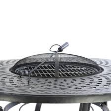kensington firepit grill round 120cm fire ice table with 4 lounge armchairs