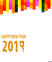 colorful lines card frame for happy new year 2019